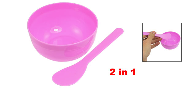 Cosmetic Tool Floral Print Plastic Mask Bowl w Pink Stick for Lady Woman