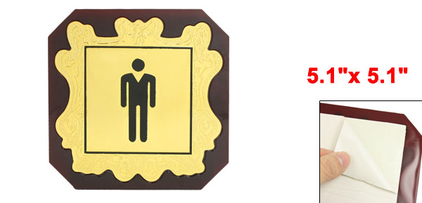 Gold Tone Brown Men WC Toilet Door Symbol Sign Sticker 5.1