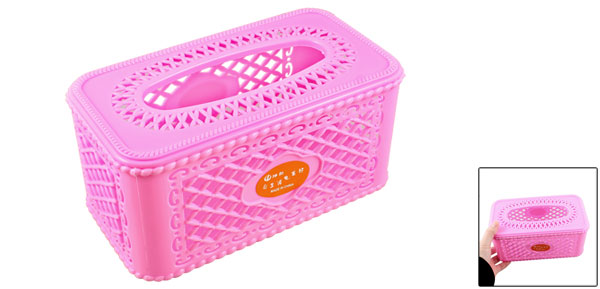 Hollow Out Design Rectangle Shaped Pink Plastic Case Paper Tissue Box Holder