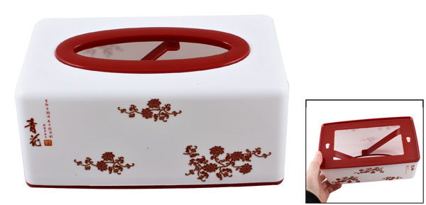 Household Rectangular Paper Tissue Napkin Container Box Case Holder Red White