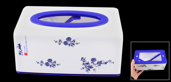 Flower Pattern Rectangle Shaped Blue White Plastic Case Paper Tissue Box Holder