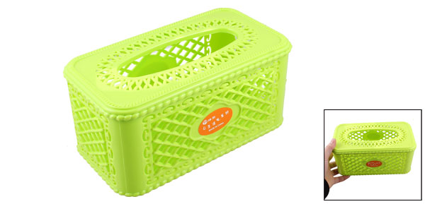 Detachable Lid Hollow Plastic Tissue Box Case Desk Ornament Lime Green