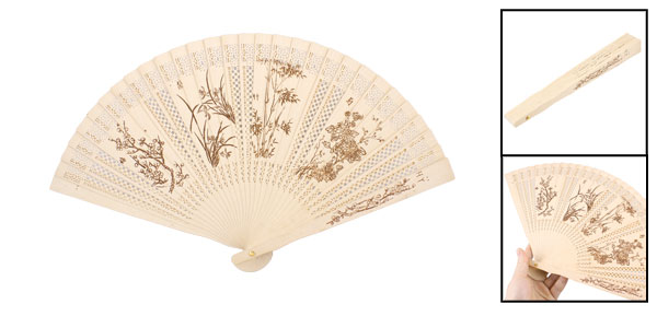 Craft Plum Blossom Bamboo Pattern Folding Wooden Hand Fan