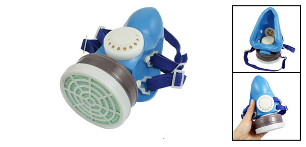 Light Blue Stretchy Strap Single Cartridge Dust Proof Air Respiration Mask