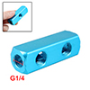 "1/4""NPT Thread 2 Way Quick Connect Air Hose Manifold Block Blue"