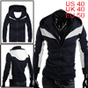 Mens Dark Blue Long Sleeves Fleece Inner Casual Warm Hoodie M