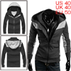 Mens Dark Gray Convertible Collar Double Zipper Hooded Coat L