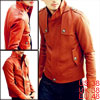Men Orange Tiered Stand Collar Zip Up Gun Flap Detail Faux Leathe...