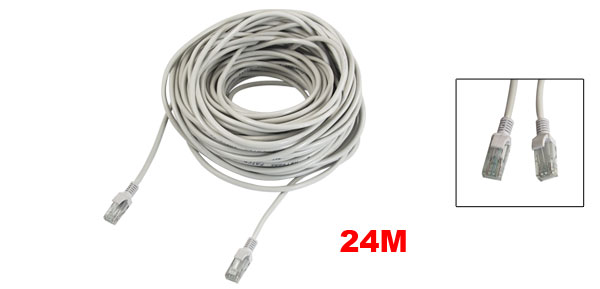 78Ft 24M RJ45 CAT5E LAN Network Cable White for Ethernet Router Switch