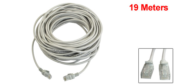 RJ45 Cat5e UTP Ethernet LAN Network Patch Cable Wire Gray 19M 62Ft