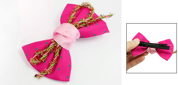 Ladies Fuchsia Green Dots Bowknot Tinsel Hair Clip Alligator Hairclip