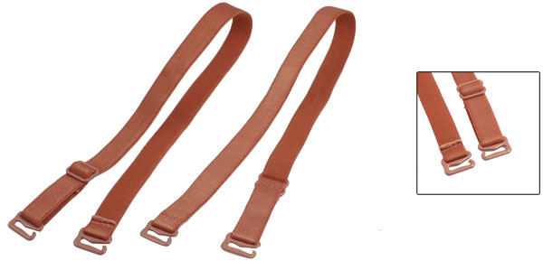 Women 11mm Wide Rosy Brown Adjustable Elastic Fabric Bra Shoulder Straps Pair