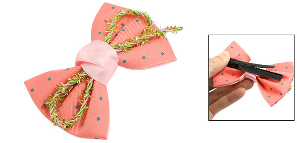 Ladies Watermelon Pink Dots Bowtie Tinsel Detail Alligator Hair Clip Hairclip