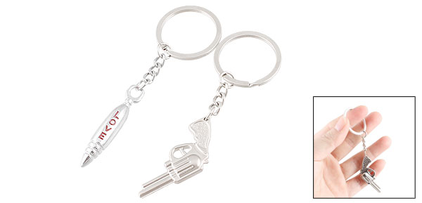 2 Pcs Gun Shaped Pendant Silver Tone Metal Keyrings for Lovers