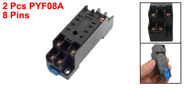 2 Pcs PYF08 35mm DIN Rail Relay Socket Base 8 Pins for HH52P MY2NJ
