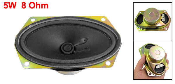 5W 5 Watt 8 Ohm Aluminum Oval Internal Magnet Speaker 125mm x 75mm