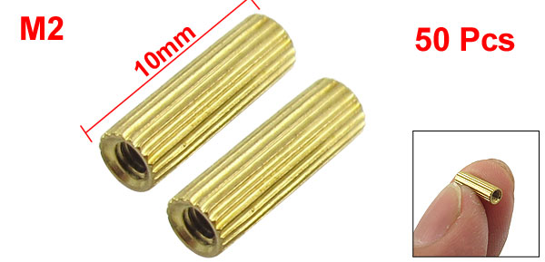50 Pcs M2 Female Thread Cylindrical Ordinary Brass Stand-off Support M2x10mm