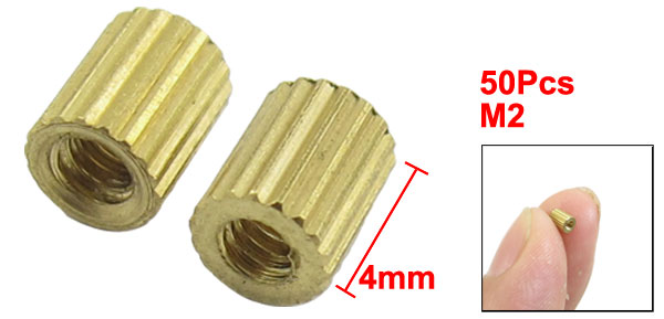 50 Pcs Female Threaded Pillars Ordinary Brass Standoff Spacer Gold Tone M2x4mm