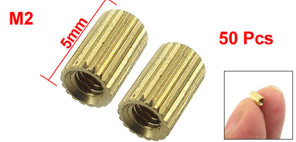 50 Pcs Female Threaded Pillars Ordinary Brass Standoff Spacer Gold Tone M2x5mm