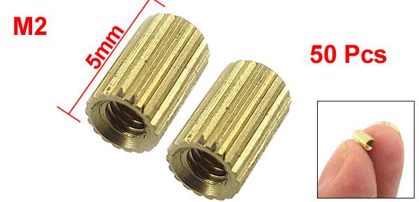 50 Pcs Female Threaded Pillars Ordinary Brass Standoff Spacer Gold Tone M2x5mm