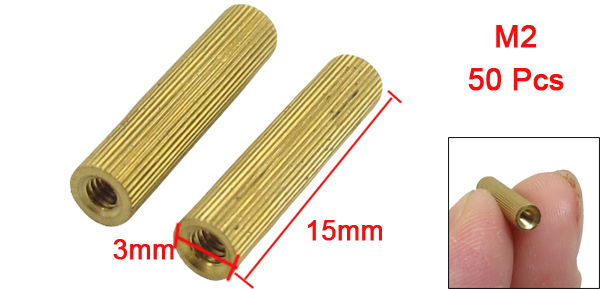 M2x15mm Cylinder Shaped Female Threaded Ordinary Brass Standoff Spacer 50Pcs