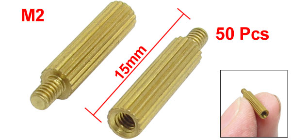50 Pcs Gold Tone Male Female PCB Pillars Standoff Spacers M2x12mmx15mm