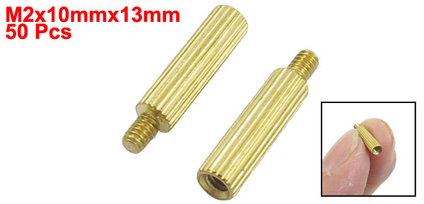 50 Pcs Gold Tone Male Female PCB Pillars Standoff Spacers M2x10mmx13mm