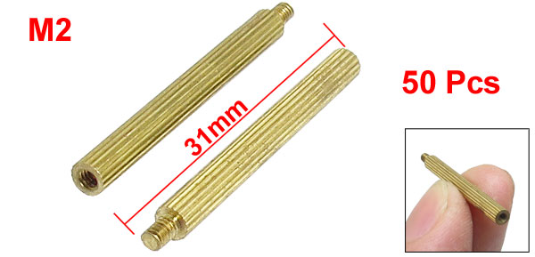 M2x28mmx31mm Cylindrical Brass Stand Off Spacer Male to Female 50Pcs