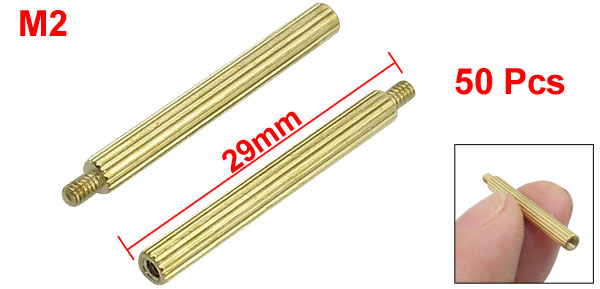 M2x26mmx29mm Cylindrical Brass Stand Off Spacer Male to Female 50Pcs