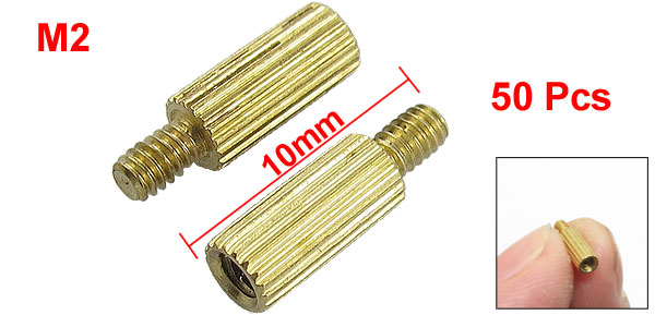 50 Pcs Male to Female Thread Ordinary Brass Pillars Standoff Spacer M2x7mmx10mm
