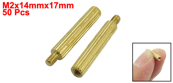 50 Pcs Gold Tone Male Female PCB Pillars Standoff Spacers M2x14mmx17mm