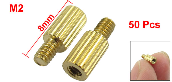 50 Pcs Male to Female Thread Common Brass Pillars Standoff Spacer M2x5mmx8mm