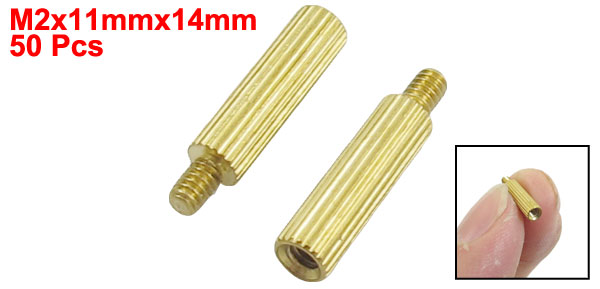 50 Pcs Male to Female Thread Brass Pillars Standoff Spacer M2x11mmx14mm