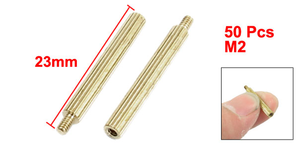 50 Pcs Male to Female Thread Brass Pillars Standoff Spacer M2x20mmx23mm