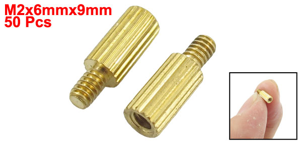 50 Pcs Male to Female Thread Brass Pillars Standoff Spacer M2x6mmx9mm