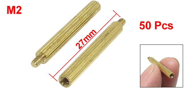 50 Pcs Male to Female Thread Brass Pillars Standoff Spacer M2x3mmx24mm