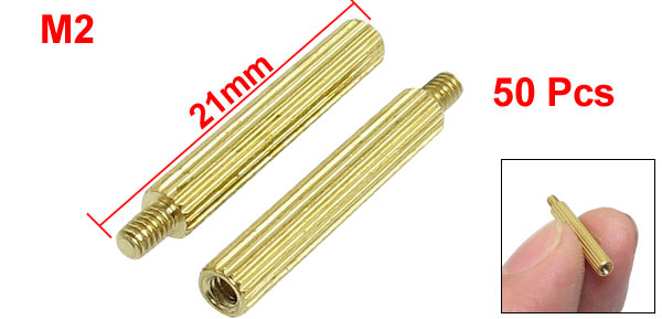 50 Pcs Male to Female Thread Brass Pillars Standoff Spacer M2x18mmx21mm
