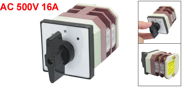 AC 500V 16A 3 Positions Latching Rotary Universal Changeover Switch LW12-16/2