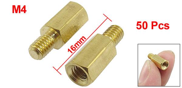 50Pcs Male To Female Threaded Hexagonal Brass Standoff Spacer M4x10mmx16mm
