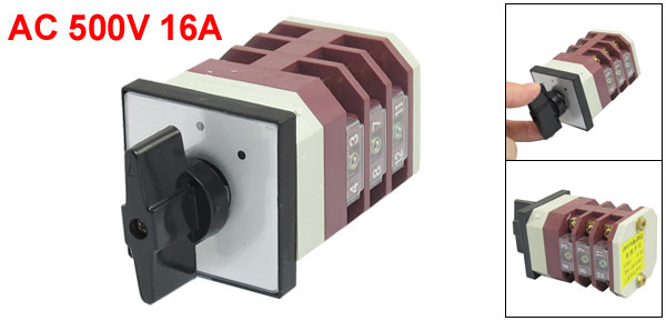 AC 500V 16A 12 Terminals 3 Positions Rotary Changeover Cam Switch LW6-2