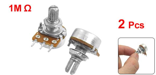 1M Ohm Single Linear Taper 3P 3 Pin Rotary Potentiometers Pots 2pcs