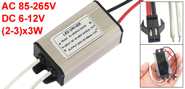 Waterproof Aluminum LED Driver Power Supply AC 85-265V to DC 6-12V (2-3)x3W