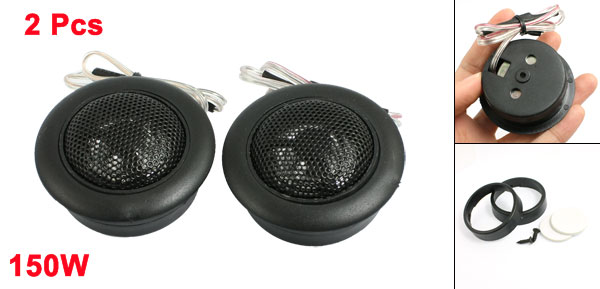 Car Vehicle Flush Mount Dome Loud Speaker Tweeter Black 150W 2 Pcs