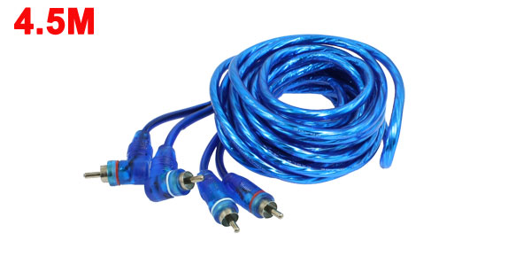 5M 16.4Ft 2 RCA Audio Video AV Extension Cable Male to Male Cord Blue