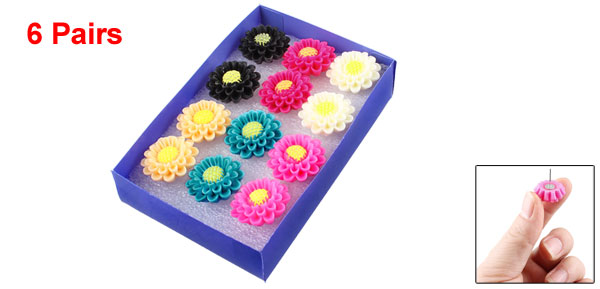 Multicolor Plastic Sun Floral Design Studs Earrings 12 Pcs for Ladies Girls