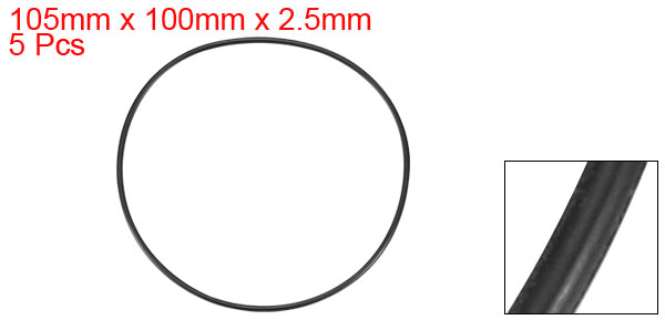 105mm x 100mm x 2.5mm Rubber Sealing Oil Filter O Shaped Rings Gaskets 5 Pcs