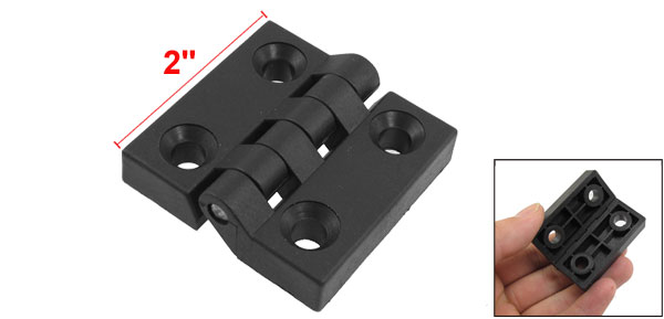 Reinforced Black Plastic Countersunk Hole Hinge 50mm x 50mm