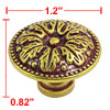 Gold Tone Screwed Carved Leaves Cupboard Drawer 3.1cm Dia Pull Kn...
