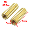 50 Pcs Female Threaded Pillars Brass Standoff Spacer Gold Tone M2...