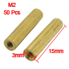 M2x15mm Cylinder Shaped Female Threaded Brass Standoff Spacer 50P...
